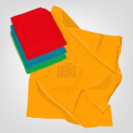 Illustration pour L'illustration de beaux plaids pliés réalistes. Quatre couleurs différentes dans un kit. Image totalement vectorielle. Pourrait être utilisé comme couverture, couverture, linge de lit, chiffons ou enveloppement - image libre de droit