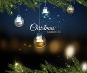 Vector illustration of christmas tree branches with silver balls on dark night bokeh background with blurred lights Beautiful decorative backdrop for New Year postcard poster print or invitation