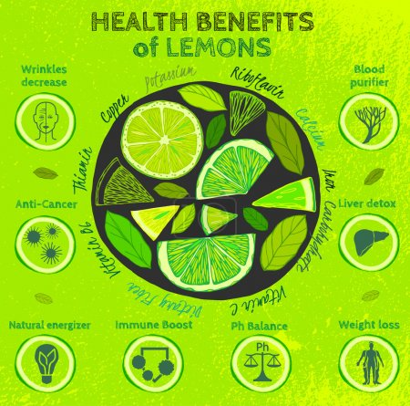 Illustration for Graphic vector illustration of  beautiful hand drawn infographics with fresh lemons health benefits on a textured background in fresh and juicy style. Fresh juice for healthy life. Handmade concept. - Royalty Free Image
