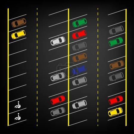 Illustration pour Illustration graphique vectorielle d'un plan de stationnement abstrait de voiture vue de dessus. Collection automobile modifiable dans un style plat et simple . - image libre de droit