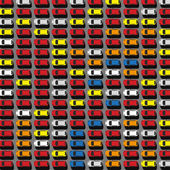 Vector graphic illustration of a top view car abstract parking with lots of multicolored cars Editable automotive collection in a flat simple style