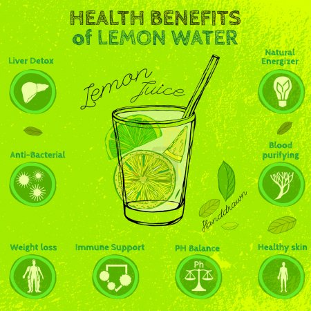 Illustration for The illustration of  beautiful hand drawn lemon juice in a cocktail glass on a textured background in fresh and juicy style. Vector image. Infographic poster. Fresh juice for healthy life. - Royalty Free Image