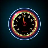 Vector editable illustration of a car dash panel with tachometer speedometer temperature level and gasoline level indicators Abstract automotive detailed  image on a dark background