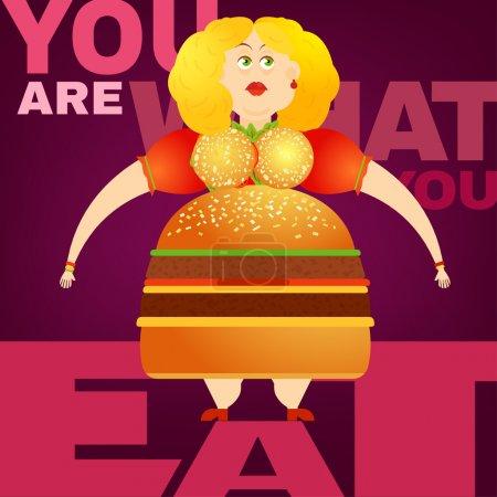 Beautiful vector Obesity Concept