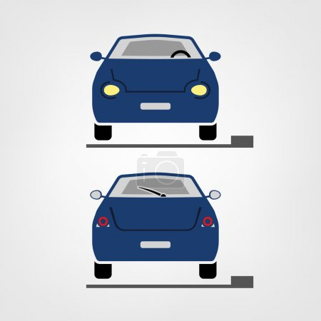Illustration for Beautiful vector illustration of car images useful for icon and logotype design on a light background. Front view and back view. Transportation automotive concept. Digital pictogram collection - Royalty Free Image