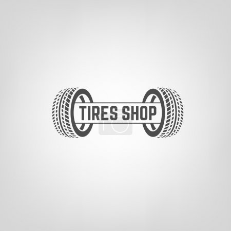Illustration for Beautiful vector illustration of the tire shop logotype. Modern graphic style. Transportation automotive concept. Digital pictogram collection - Royalty Free Image