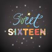 Beautiful vector illustration of a sweet sixteen birthday party composition Handdrawn typography in a shape of colorful cakes and whipped cream Ideal for placards postcards and invitations design