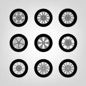 Beautiful vector illustration of car tires images useful for icon and logotype design on a light background Modern graphic style Transportation automotive concept Digital pictogram collection