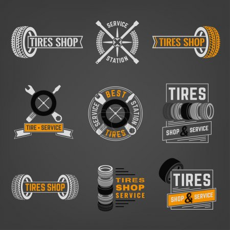 Illustration for Beautiful vector set of the tire shop and service logotypes. Modern graphic style. Transportation automotive concept. Digital pictogram collection useful for automobile industry design - Royalty Free Image