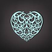Beautiful vector illustration of a white decorative heart pattern in cute hand drawn style Editable image isolated on a dark gray background useful for postcard poster placard or invitation design