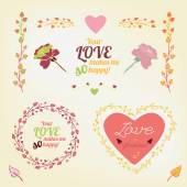 Vector romantic collection with lovely typography Hand drawn floral elements Example of a cute and romantic style in pastel tones Saint Valentines Day image Me and youl creative concept