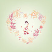 Vector romantic card with lovely handwritten typography Hand drawn floral elements Example of a cute and romantic style in pastel tones Saint Valentines Day image Me and youl creative concept