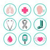 Vektor-Icons für Asthma