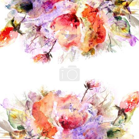 Foto de Marco floral. Ramo floral acuarela. Tarjeta de cumpleaños - Imagen libre de derechos