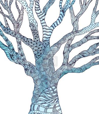 Photo pour Arbre avec motif Zentangle. Image aquarelle. Nouilles - image libre de droit