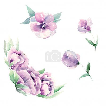 Watercolor flowers for wedding invitation