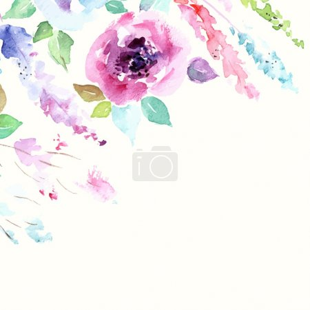 Illustration for Floral background. Watercolor floral bouquet. Birthday card. Floral decorative frame. - Royalty Free Image