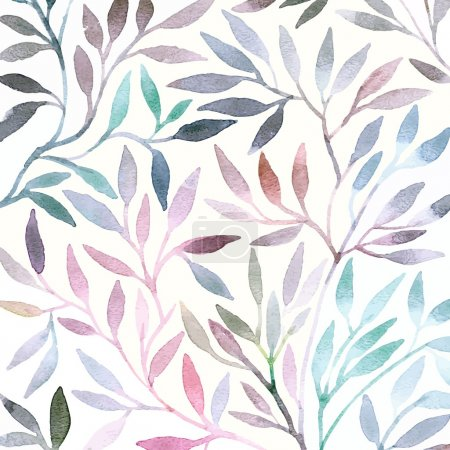 Illustration for Watercolor floral pattern. Leaves background. Greeting card. - Royalty Free Image