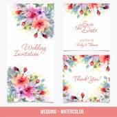 """Постер, картина, фотообои """"Свадебные открытки с цветами"""""""