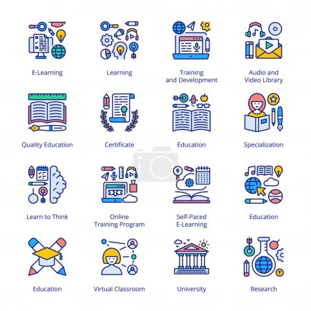 Illustration for Back to School Filled Icons - Stroked, Vectors - Royalty Free Image