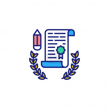 Illustration for Certificate icon in vector. Logotype - Royalty Free Image