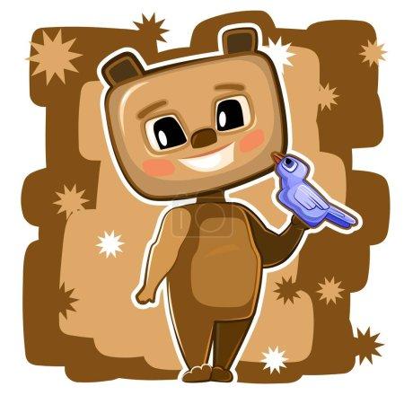 Illustration pour Un ours en peluche. Cartoon style. Jeune ourson. Vecteur. Bébé mignon. - image libre de droit