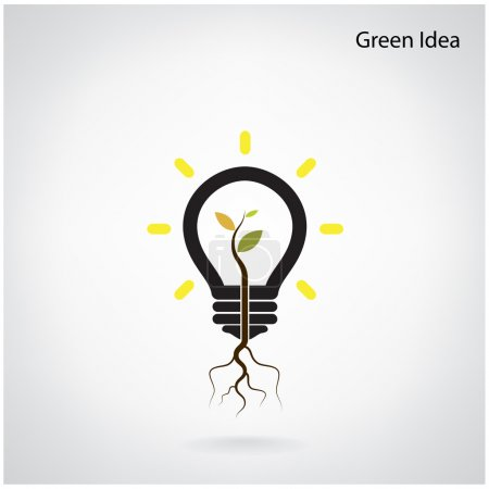 Illustration for Green and initiative concept. Tree of green idea shoot grow in a light bulb. Vector illustration - Royalty Free Image