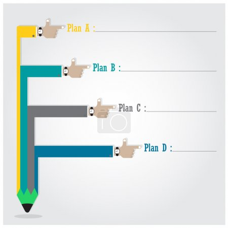 Creative template with pencil ribbon banner flow chart, business