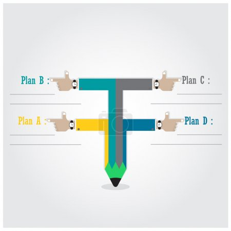 Creative template with pencil ribbon banner flow chart
