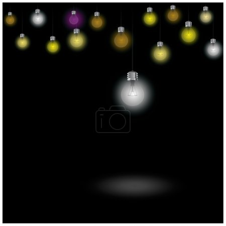 Colorful light bulb on blackground.