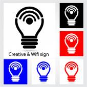 Set of creative light bulb with wifi icons for business or comme