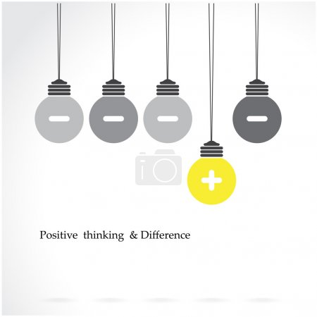 Illustration for Creative light bulb symbol with positive thinking and difference concept, business idea. Vector illustration - Royalty Free Image