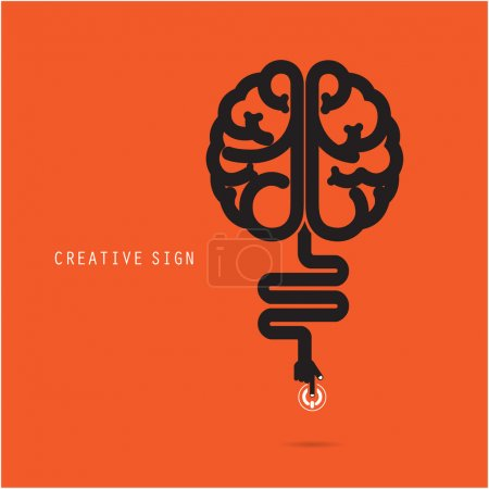 Illustration for Creative brain concept, design for poster ,flyer, cover or brochure. Business and education concept. Vector illustration - Royalty Free Image