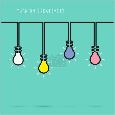 Illustration pour Symbole créateur d'ampoule avec le concept de créativité, l'éducation et l'idée d'affaires. Illustration de vecteur - image libre de droit