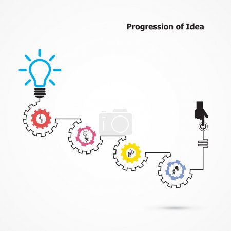 Illustration for Creative light bulb symbol with linear of gear shape. Progression of idea concept. Business, education and industrial idea. Vector illustration - Royalty Free Image