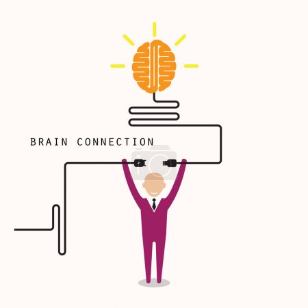 Illustration for Businessman and creative light bulb symbol with idea and knowledge connection sign. Business and education concept. Vector illustration - Royalty Free Image