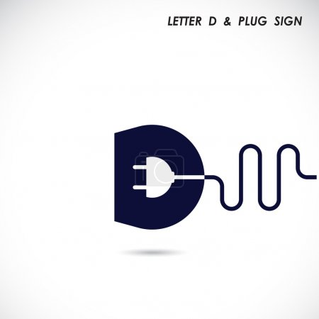 Creative letter D icon abstract logo design vector template with