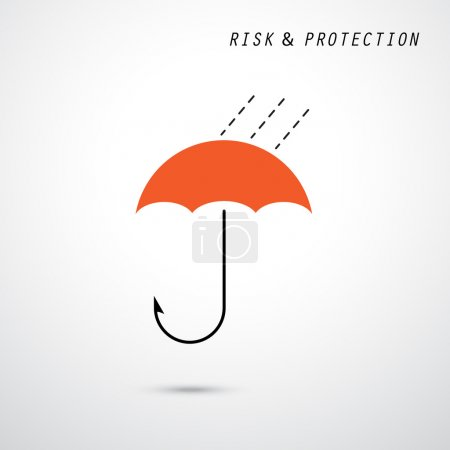 Hooks and red umbrella. Trap and security concept. Business and