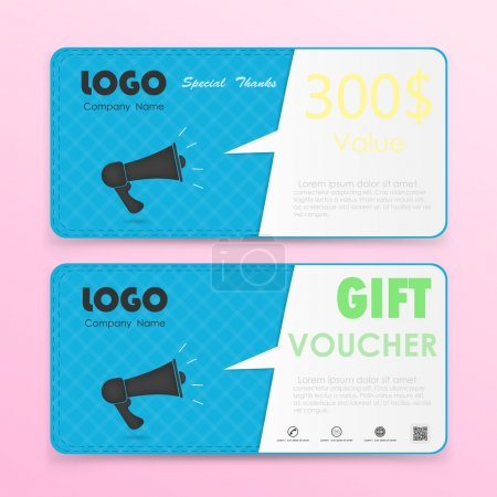 Gift voucher background or certificate coupon template with clea