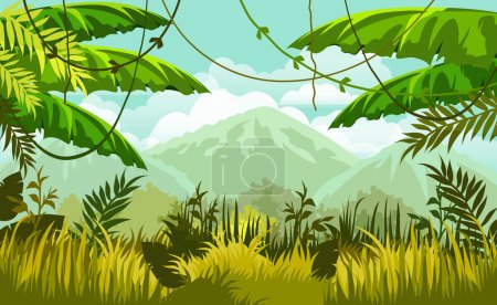 Illustration for Tropical nature  landscape. jungle and mountains. vector illustration - Royalty Free Image