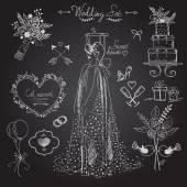 Wedding ceremony icons set sketch style on black background