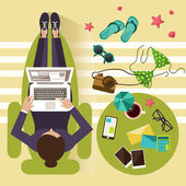 Distant work concept working woman laptop and vacation accessories vector illustration