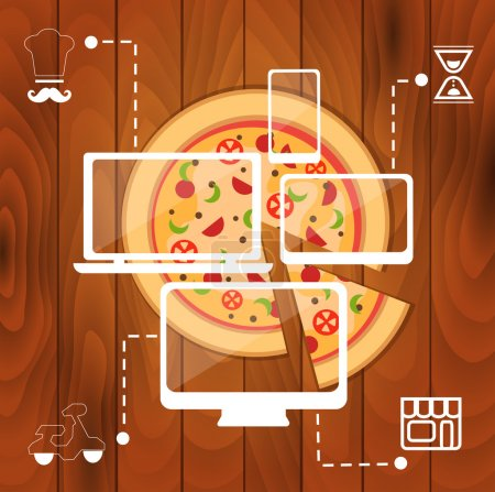 Illustration for Order pizza online concept. vector cut pizza and computer icons - Royalty Free Image