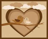Romantic birds in love retro