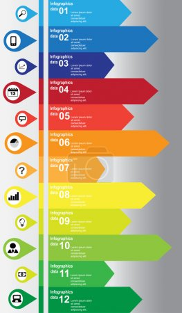 Vertical colorful infographic with business and technology icons