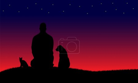 Silhouette of man sitting with dog and cat