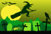 Silhouette of flying witch on broom with spider raven and bats green
