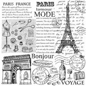Paris Eiffel Tower hand drawing set of vector sketches