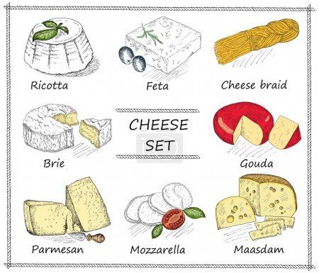 Illustration pour Fromage. dessin à la main ensemble de croquis vectoriels - image libre de droit