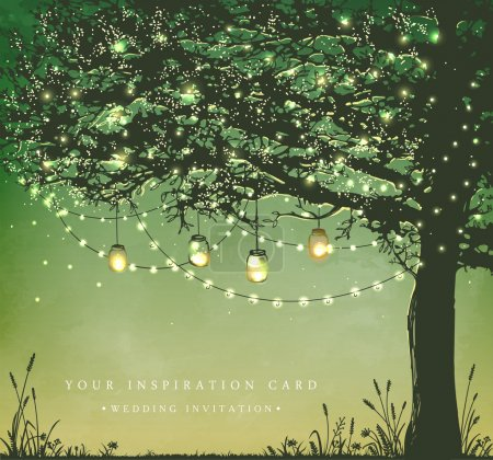 Inspiration card for wedding, date, birthday, tea and garden party.  Decorative holiday lights